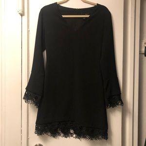 Aqua Lace Sleeve Black Long Sleeve Dress XS